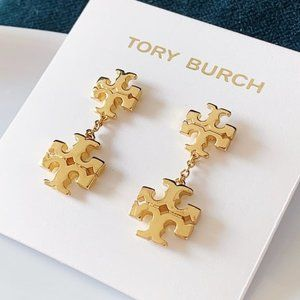 Tory Burch logo gold earrings